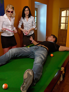 18DOM. 2 girls get a guy loose his money and fuck him on the pool table