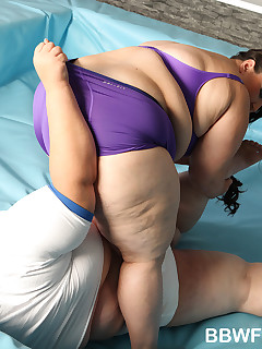 BBW Fight Club. Super Sized BBWs Monika and Jitka wrestle and fuck in the ring