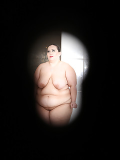 BBW Sandwich. BBW threesome sex in the public shower with BDSM props