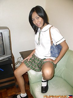 Filipino Fuck. Annabelle Flores strips from her cute school uniform
