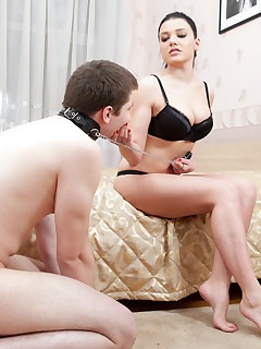 Brutal Facesitting. Dommes delicate smooth pussy brings lots of suffering to her lazy boy toy