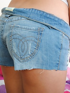 Kelly XoXo. Hot blue jean shorts