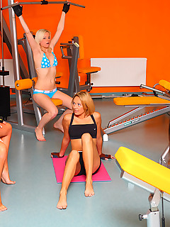 Little Caprice. 4 slutty teens flirt their gym coach