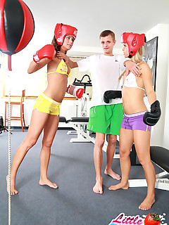 Little Caprice. Sweet 18yo teens boxing and fucking in gym