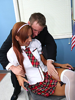 Innocent High. Innocent dark skinned schoolgirl gets felt up and cock rammed by her principal