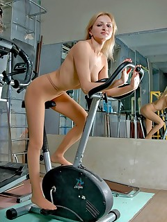 Pantyhose Sports. Blond in pantyhose has gym sports fun