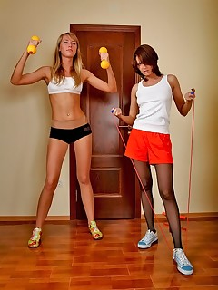 Pantyhose Sports. Two hot girls in pantyhose workout