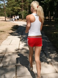 Pantyhose Sports. Sports girl doing gymnastics in tights outdoors