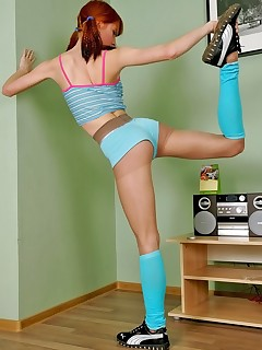 Pantyhose Sports. Redhead Alex demonstrates her great flexibility